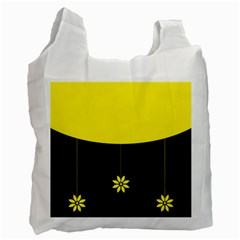 Flower Land Yellow Black Design Recycle Bag (two Side)