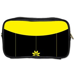 Flower Land Yellow Black Design Toiletries Bags 2 Side