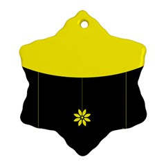 Flower Land Yellow Black Design Snowflake Ornament (two Sides)