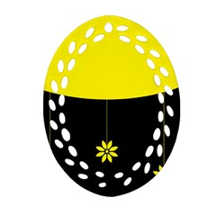 Flower Land Yellow Black Design Oval Filigree Ornament (two Sides)