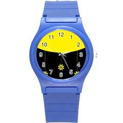 Flower Land Yellow Black Design Round Plastic Sport Watch (s)