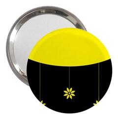 Flower Land Yellow Black Design 3  Handbag Mirrors