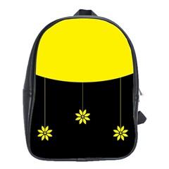 Flower Land Yellow Black Design School Bag (xl)