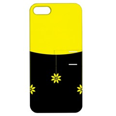 Flower Land Yellow Black Design Apple Iphone 5 Hardshell Case With Stand