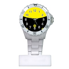 Flower Land Yellow Black Design Plastic Nurses Watch