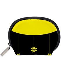 Flower Land Yellow Black Design Accessory Pouches (small)