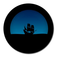 Ship Night Sailing Water Sea Sky Round Mousepads
