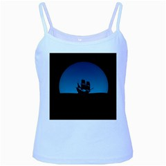 Ship Night Sailing Water Sea Sky Baby Blue Spaghetti Tank