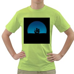 Ship Night Sailing Water Sea Sky Green T Shirt
