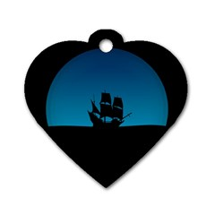 Ship Night Sailing Water Sea Sky Dog Tag Heart (two Sides)