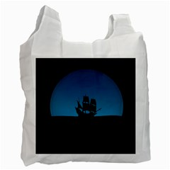 Ship Night Sailing Water Sea Sky Recycle Bag (one Side)