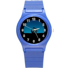 Ship Night Sailing Water Sea Sky Round Plastic Sport Watch (s)