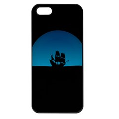 Ship Night Sailing Water Sea Sky Apple Iphone 5 Seamless Case (black)