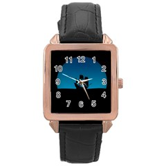 Ship Night Sailing Water Sea Sky Rose Gold Leather Watch