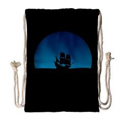 Ship Night Sailing Water Sea Sky Drawstring Bag (large)