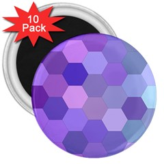 Purple Hexagon Background Cell 3  Magnets (10 Pack)