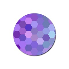 Purple Hexagon Background Cell Rubber Coaster (round)