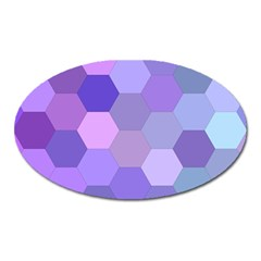 Purple Hexagon Background Cell Oval Magnet