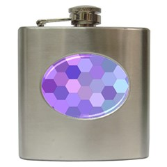 Purple Hexagon Background Cell Hip Flask (6 Oz)
