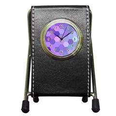 Purple Hexagon Background Cell Pen Holder Desk Clocks