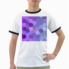 Purple Hexagon Background Cell Ringer T Shirts