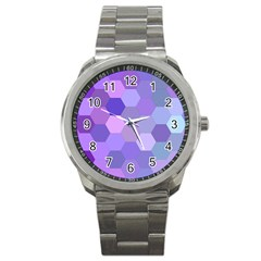 Purple Hexagon Background Cell Sport Metal Watch