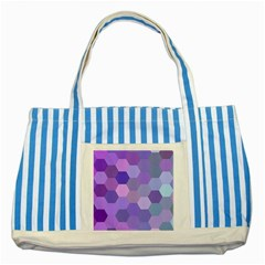 Purple Hexagon Background Cell Striped Blue Tote Bag