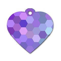 Purple Hexagon Background Cell Dog Tag Heart (one Side)