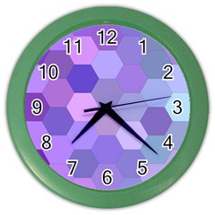 Purple Hexagon Background Cell Color Wall Clocks