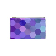 Purple Hexagon Background Cell Cosmetic Bag (small)