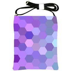 Purple Hexagon Background Cell Shoulder Sling Bags