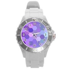 Purple Hexagon Background Cell Round Plastic Sport Watch (l)