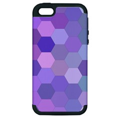 Purple Hexagon Background Cell Apple Iphone 5 Hardshell Case (pc+silicone)