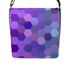 Purple Hexagon Background Cell Flap Messenger Bag (l)