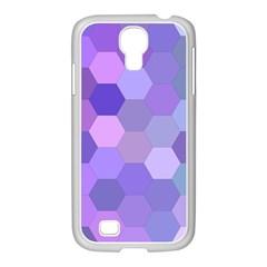 Purple Hexagon Background Cell Samsung Galaxy S4 I9500/ I9505 Case (white)