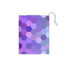 Purple Hexagon Background Cell Drawstring Pouches (small)