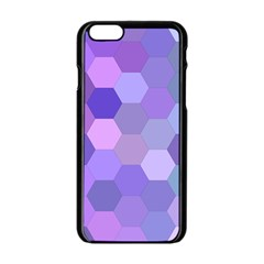 Purple Hexagon Background Cell Apple Iphone 6/6s Black Enamel Case