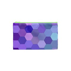 Purple Hexagon Background Cell Cosmetic Bag (xs)