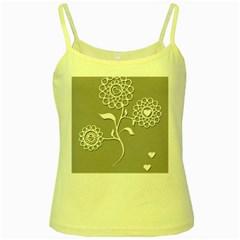 Flower Heart Plant Symbol Love Yellow Spaghetti Tank