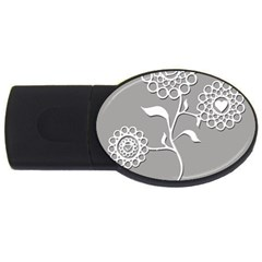 Flower Heart Plant Symbol Love Usb Flash Drive Oval (2 Gb)