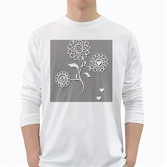 Flower Heart Plant Symbol Love White Long Sleeve T Shirts