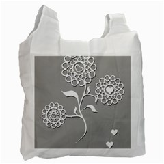 Flower Heart Plant Symbol Love Recycle Bag (two Side)