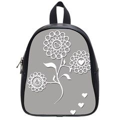 Flower Heart Plant Symbol Love School Bag (small)