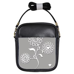 Flower Heart Plant Symbol Love Girls Sling Bags