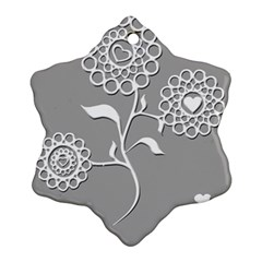 Flower Heart Plant Symbol Love Snowflake Ornament (two Sides)
