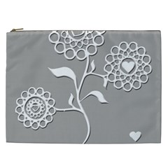 Flower Heart Plant Symbol Love Cosmetic Bag (xxl)