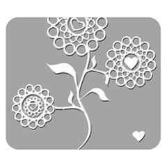 Flower Heart Plant Symbol Love Double Sided Flano Blanket (small)