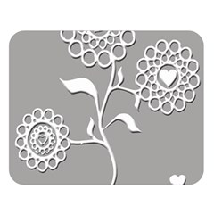 Flower Heart Plant Symbol Love Double Sided Flano Blanket (large)
