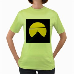 Man Mountain Moon Yellow Sky Women s Green T Shirt