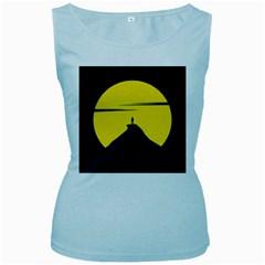 Man Mountain Moon Yellow Sky Women s Baby Blue Tank Top